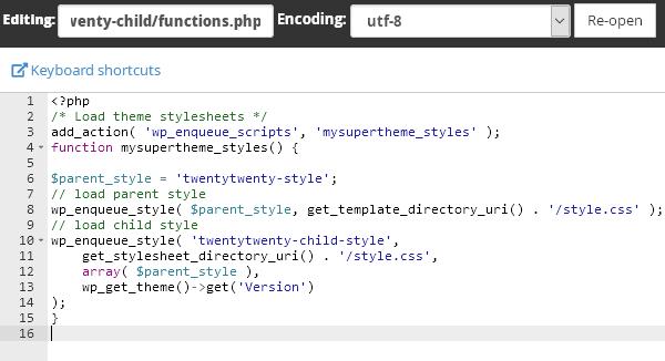 Файлът functions.php на child темата.