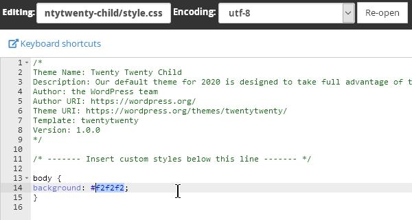Стиловият файл style.css на child темата.