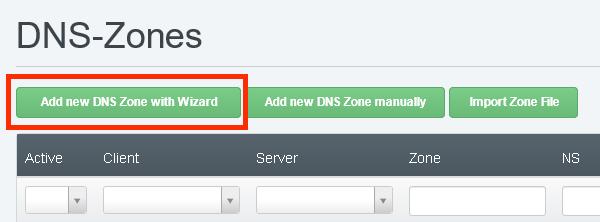 Добавяне на нова DNS чрез помощника (Wizard) в ISPConfig.