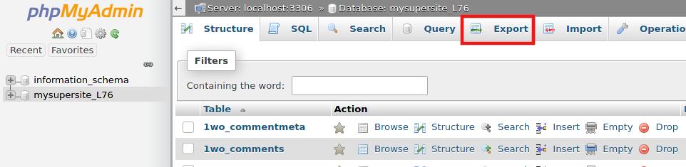 Експорт на данните в базата данни през phpMyAdmin.