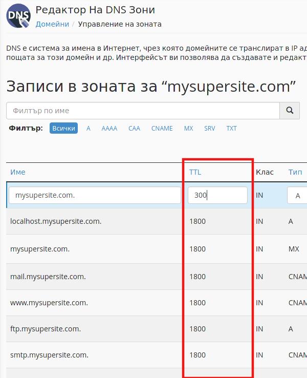 Редакция на DNS записите за домейна през cPanel.