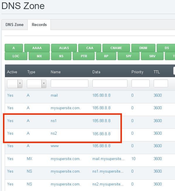 Двата А записа за ns1 и ns2 - към IP адреса на сървъра.
