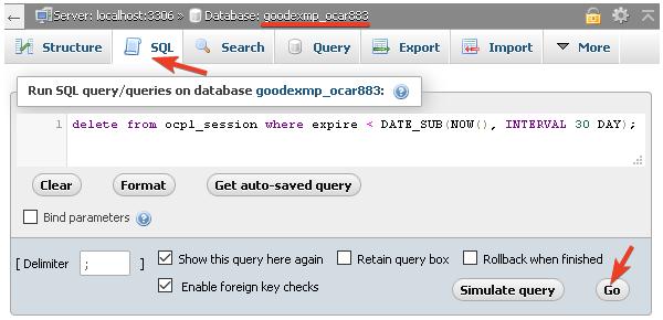 Изпълнение на SQL заявка за почистване на стари данни в таблицата.