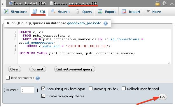 SQL заявка за почистване на стари данни в таблиците.