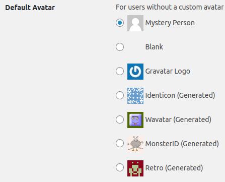 Панел Default Avatar за настройване на аватари в WordPress