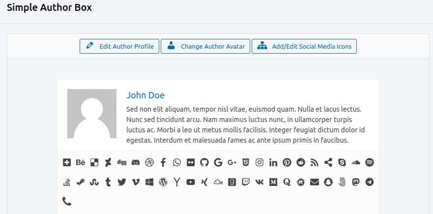 Изглед на панел с настройки Simple Author Box