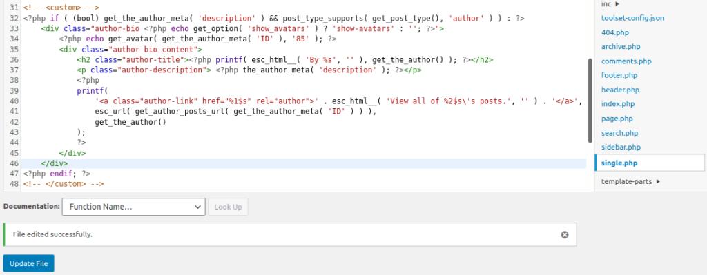 Добавяне на код в single.php през Theme Editor