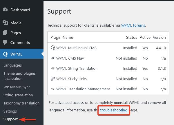 """В меню Support ще намерите линк """"troubleshooting""""."""
