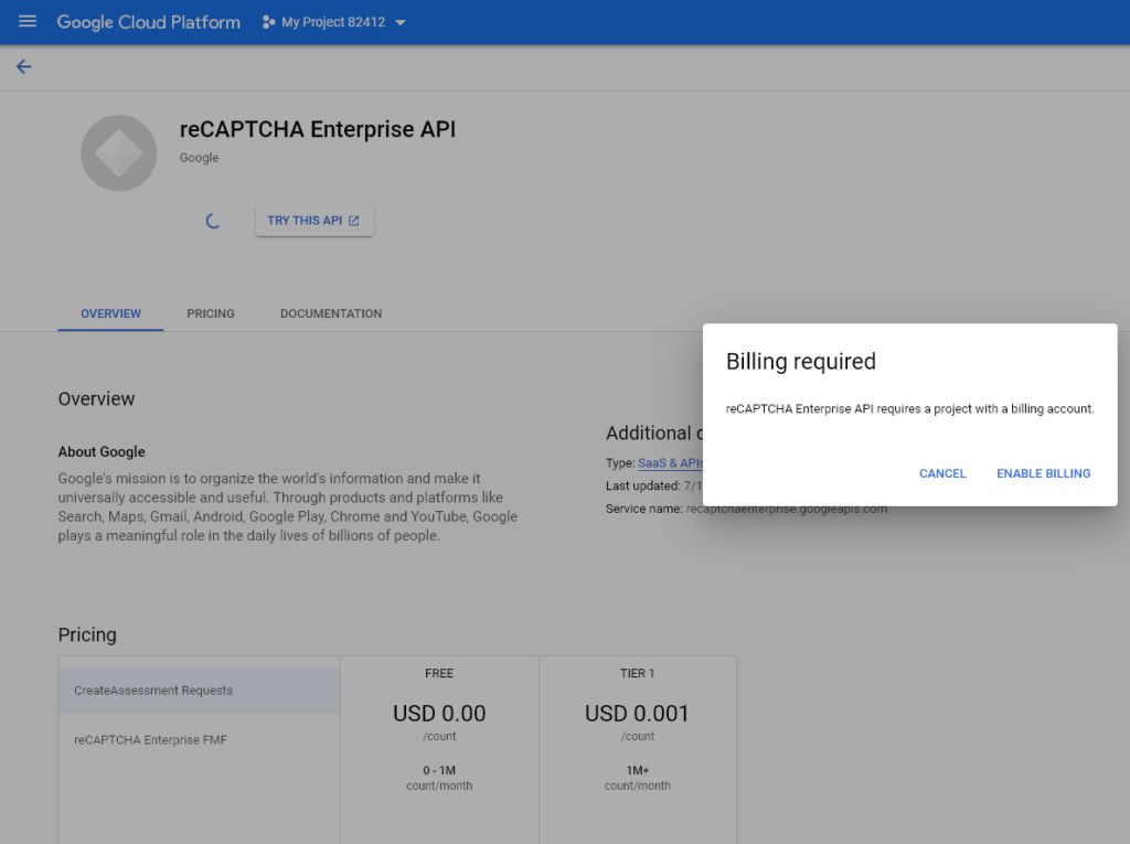 reCAPTCHA Enterprise API-то изисква билинг акаунт.