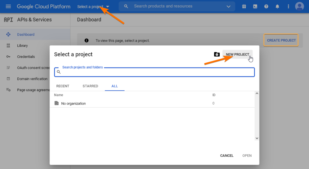 Създаване на нов проект в Google Cloud.