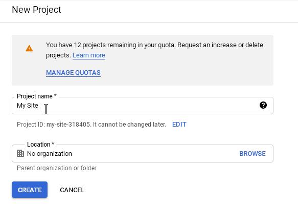 Изчакайте докато проектът се създаде.