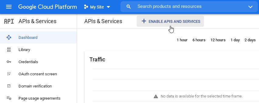 Enable APIs and Services отваря библиотеката с API-та.