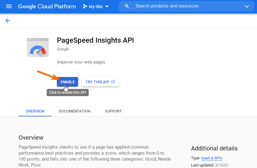 Активиране на PageSpeed Insights API за плъгина Google Pagespeed Insights.