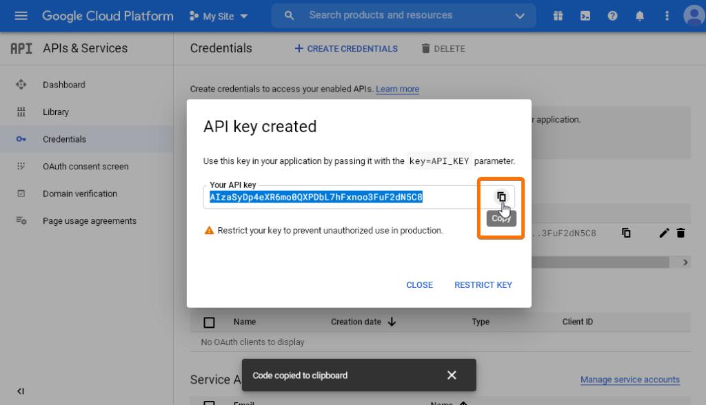 Генерираният Google API ключ
