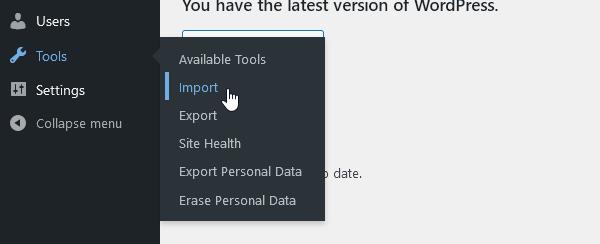 линк Import в меню Tools в администрацията на WordPress