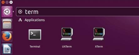 в полето за търсене Ubuntu Dash започнете да въвеждате terminal