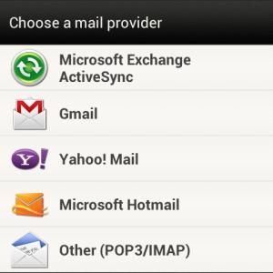 Android - Избор на тип имейл акаунт
