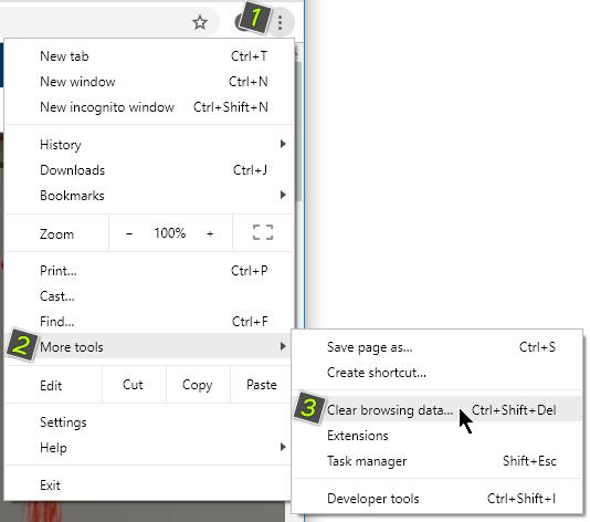 Настройки за изчистване на кеша в Chrome