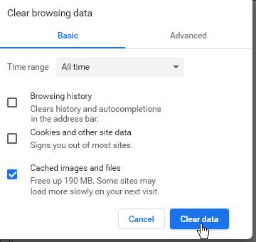 Изчистване на кеша в браузъра, без бисквитките