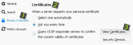 Настройки в уеб браузъра за SSL сертификатите