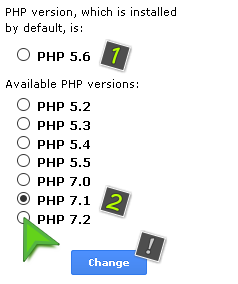 Change the PHP version for the hosting acoount