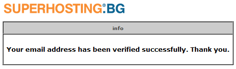 Confirmation message for successful verification of email address