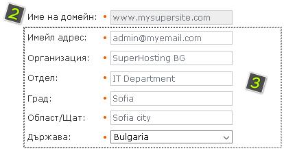 Данни на заявката за издаване на сертификата