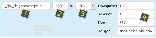 Добавяне на SRV запис
