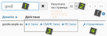Добавените домейни в cPanel, и възможност за редакция на DNS записите им