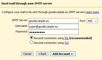 Въвеждане на данни за изходящ мейл сървър