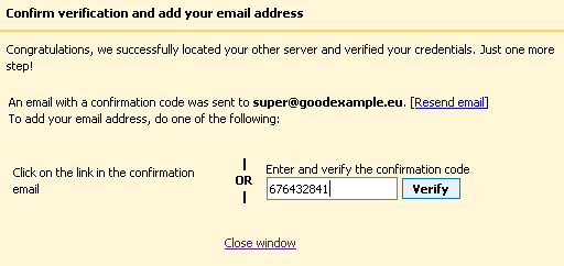 Confirmation of adding the email address to Gmail