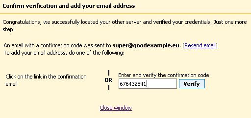 Потвърждение за добавянето на имейл адреса в Gmail