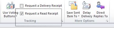 Активиране на заявката за обратна разписка в Outlook.