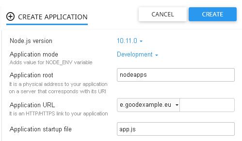 Създаване на нова среда за Node.js приложения