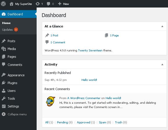 Административен панел на WordPress сайт