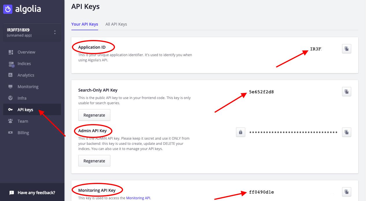 ID на приложението, Администраторски API ключ и API ключ за мониторинг
