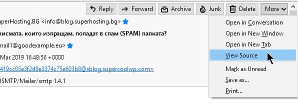 Опцията за показване на мейл хедърите в Thunderbird