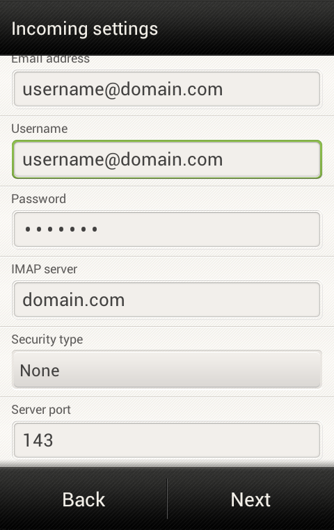 Android - Incoming mail server