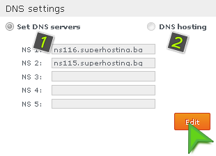 Changing the DNS settings for a Domain
