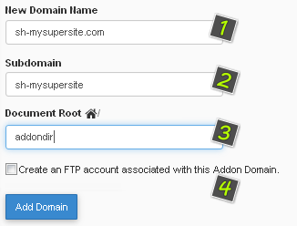 Add Addon Domain in cPanel