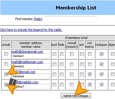 Премахване на потребители от пощенския списък