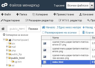 cPanel - Файлов мениджър в Paper Lantern