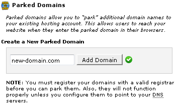 Add new parked domain in cPanel