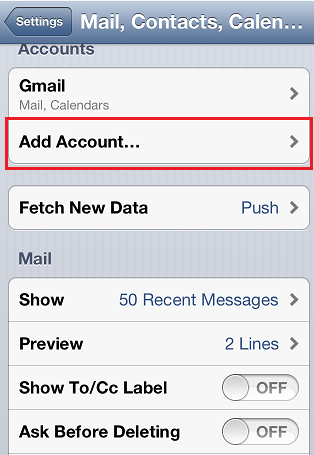 Configuring your email account on iPhone