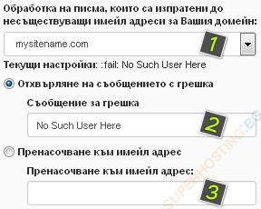 Настройки за обработка на имейлите, които са изпратени до несъществуващи адреси