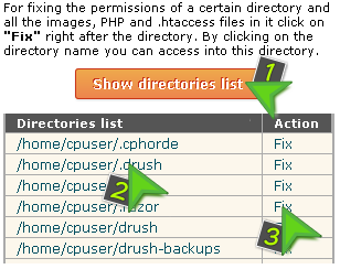 Fix permissions for a particular directory of the hosting account