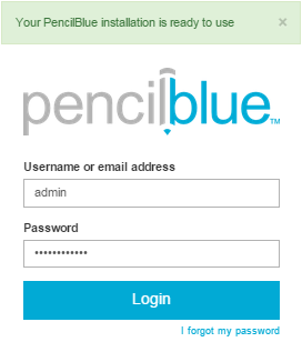Accessing the administration of PencilBlue