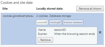 Списък с бисквитки в Chrome