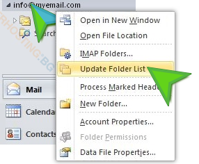 Outlook 2010 IMAP folders