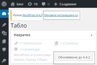 Нотификация в WordPress за налично обновление